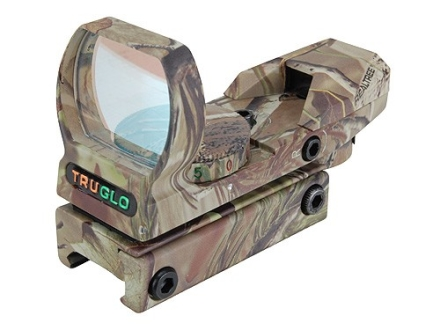 TRUGLO Reflex Red Dot Sight Red and Green 4-Pattern Reticle (10 MOA Dot, 15 MOA Peep, 3 MOA Center Dot, Crosshair) with Integral Weaver-Style Base Realtree APG Camo