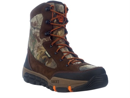 "Rocky L2 Midweight 8"" Waterproof 400 Gram Insulated Hunting Boots Leather and Nylon Brown and Realtree AP Camo Men's 9 D"