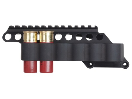 "Mesa Tactical Sureshell Saddle Mount Shotshell Ammunition Carrier 12 Gauge with 5"" Picatinny Optic Rail 6-Round Remington 870, 1100, 11-87 Aluminum Matte"