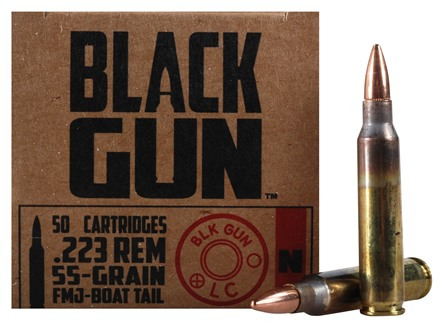 BlackGun Industries Ammunition 223 Remington 55 Grain Full Metal Jacket Boat Tail Case of 500 (10 Boxes of 50)
