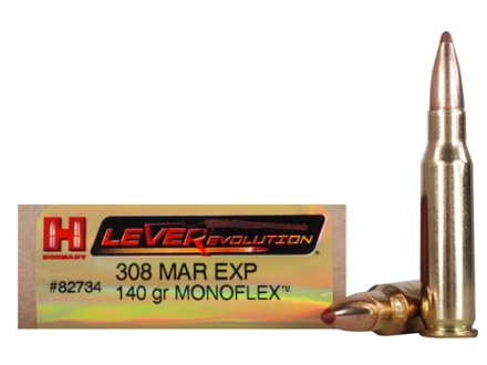 Hornady LEVERevolution Ammunition 308 Marlin Express 140 Grain Gilding Metal MonoFlex Box of 20