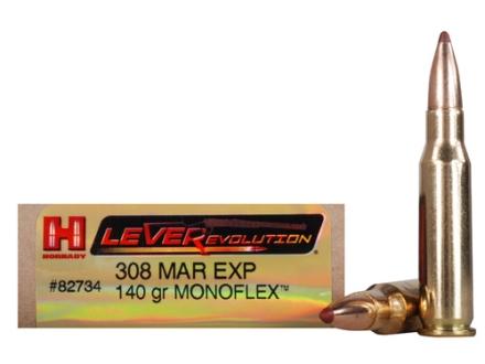 Hornady LEVERevolution Ammunition 308 Marlin Express 140 Grain Gilding Metal MonoFlex Box of 20