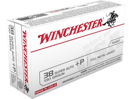 Winchester USA Ammunition 38 Super +P 130 Grain Full Metal Jacket