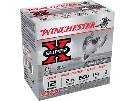 "Winchester Xpert High Velocity Ammunition 12 Gauge 2-3/4"" 1-1/16 oz #3 Non-Toxic Steel Shot"