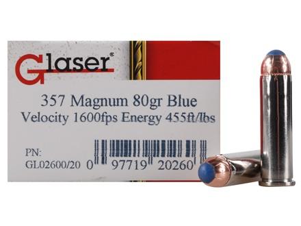 Glaser Blue Safety Slug Ammunition 357 Magnum 80 Grain Safety Slug Package of 20