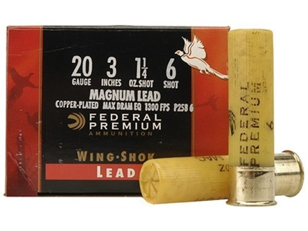 "Federal Premium Wing-Shok Ammunition 20 Gauge 3"" 1-1/4 oz Buffered #6 Copper Plated Shot Box of 25"