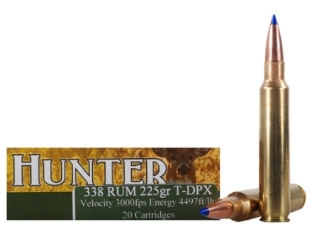 Cor-Bon DPX Hunter Ammunition 338 Remington Ultra Magnum 225 Grain Barnes Tipped Triple-Shock Lead-Free Box of 20