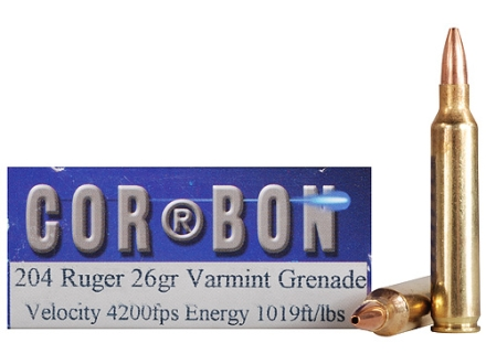 Cor-Bon Self-Defense Ammunition 204 Ruger 26 Grain Barnes Varmint Grenade Hollow Point Flat Base Lead-Free Box of 20