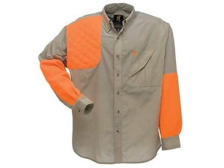 Browning Men's Cross Country Upland Shirt Long Sleeve Polyester Khaki and Blaze Orange 2XL 49-51
