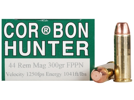 Cor-Bon Hunter Ammunition 44 Remington Magnum 300 Grain Penetrator Flat Point Box of 20