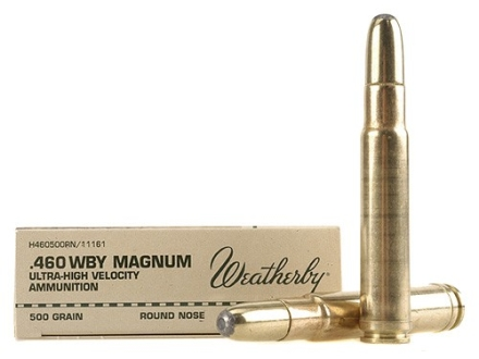 Weatherby Ammunition 460 Weatherby Magnum 500 Grain Hornady Round Nose Expanding Box of 20