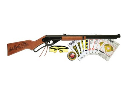 Daisy 1938 Red Ryder Youth Air Rifle 177 Caliber BB Wood Stock Blue Barrel with Fun Kit