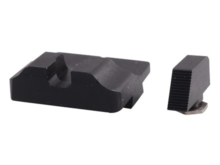 Warren Tactical Sight Set Glock 17, 19, 22, 23, 24, 34, 35 Plain Tactical Rear, Serrated Front Steel Matte