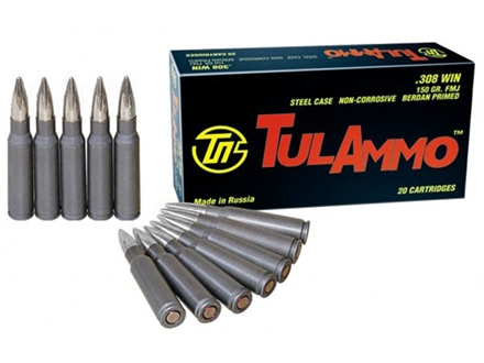 TulAmmo Ammunition 308 Winchester 150 Grain Full Metal Jacket (Bi-Metal) Steel Case Berdan Primed
