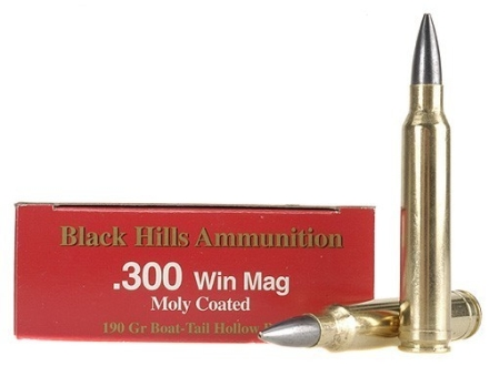 Black Hills Ammunition 300 Winchester Magnum 190 Grain Match Hollow Point Boat Tail Moly Box of 20