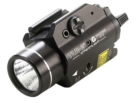 Streamlight TLR-2G Weaponlight LED with Green Laser and 2 CR123A Batteries Fits Picatinny or Glock-Style Rails Aluminum Matte