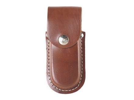 "Hunter Belt Knife Sheath for Folding Knife Up To 4"" Leather Brown"