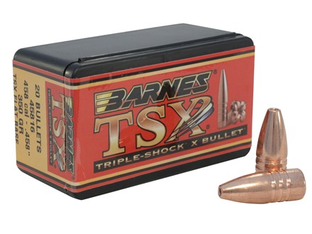 Barnes Triple-Shock X Bullets 458 Caliber (458 Diameter) 350 Grain Hollow Point Flat Base Lead-Free Box of 20