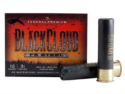 "Federal Premium Black Cloud Ammunition 12 Gauge 3-1/2"" 1-1/2 oz BBB Non-Toxic FlightStopper Steel Shot"