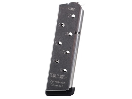 Chip McCormick Power Mag Plus Magazine with Base Pad 1911 Government, Commander 45 ACP 8-Round Stainless Steel