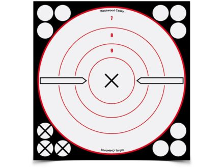 "Birchwood Casey Shoot-N-C White/Black 8"" X Bullseye Reactive Target Package of 6"