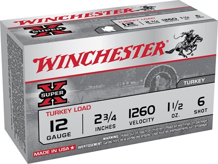 "Winchester Super-X Turkey Ammunition 12 Gauge 2-3/4"" 1-1/2 oz #6 Copper Plated Shot"