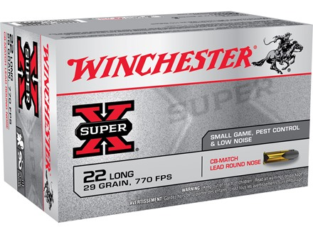 Winchester Super-X Ammunition 22 Long 29 Grain CB Match Box of 50