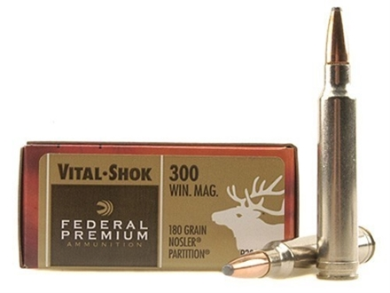 Federal Premium Vital-Shok Ammunition 300 Winchester Magnum 180 Grain Nosler Partition Box of 20