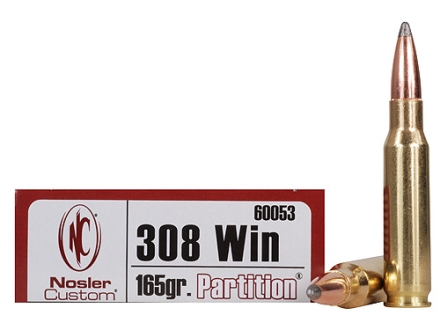 Nosler Trophy Grade Ammunition 308 Winchester 165 Grain Partition Box of 20