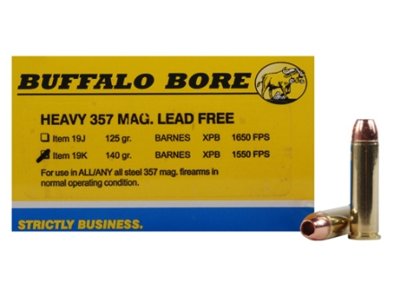Buffalo Bore Ammunition 357 Magnum 140 Grain Barnes TAC-XP Hollow Point Lead-Free Box of 20