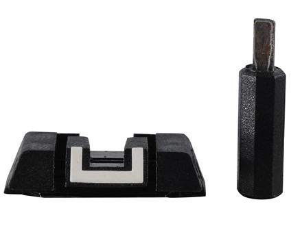 Glock Square Adjustable Rear Sight with Adjustment Tool Polymer Black White Outline