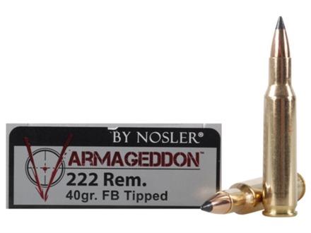 Nosler Varmageddon Ammunition 222 Remington 40 Grain Tipped Flat Base Box of 20