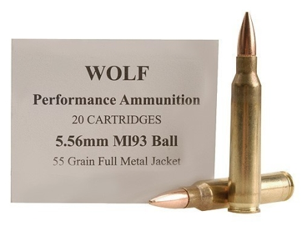 Wolf Gold Ammunition 5.56x45mm NATO 55 Grain M193 Full Metal Jacket Box of 20