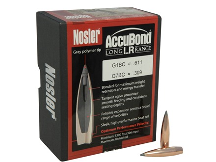 Nosler AccuBond Long Range Bullets 284 Caliber, 7mm (284 Diameter) 150 Grain Bonded Spitzer Boat Tail Box of 100