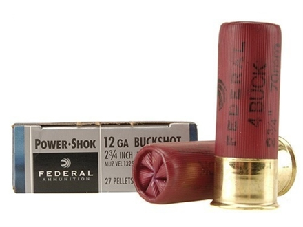 "Federal Power-Shok Ammunition 12 Gauge 2-3/4"" Buffered #4 Buckshot 27 Pellets Box of 5"