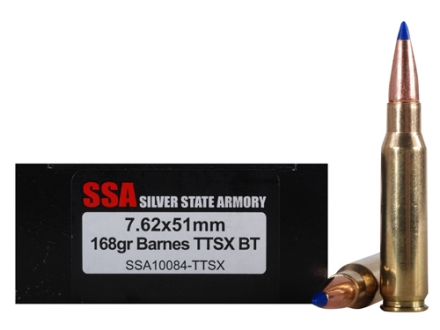Silver State Armory Ammunition 7.62x51mm NATO 168 Grain Barnes Tipped Triple-Shock X Boat Tail Bullet Lead-Free Box of 20