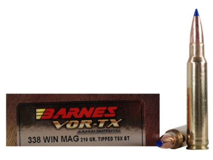 Barnes VOR-TX Ammunition 338 Winchester Magnum 210 Grain Tipped Triple-Shock X Bullet Boat Tail Lead-Free Box of 20