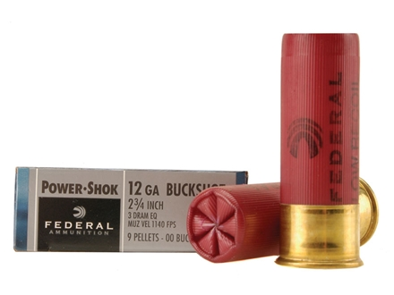 "Federal Power-Shok Low Recoil Ammunition 12 Gauge 2-3/4"" Buffered 00 Buckshot 9 Pellets Box of 5"