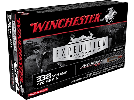 Winchester Ammunition 338 Winchester Magnum 225 Grain Nosler AccuBond Box of 20