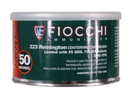 Fiocchi Canned Heat Ammunition 223 Remington 55 Grain Full Metal Jacket Boat Tail Can of 50