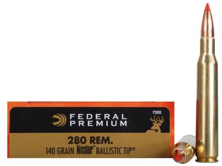 Federal Premium Vital-Shok Ammunition 280 Remington 140 Grain Nosler Ballistic Tip Box of 20