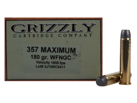 Grizzly Ammunition 357 Maximum 180 Grain Lead Wide Flat Nose Gas Check Box of 20