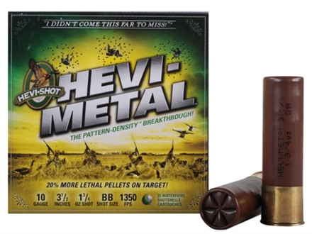 "Hevi-Shot Hevi-Metal Waterfowl Ammunition 10 Gauge 3-1/2"" 1-3/4 oz BB Hevi-Metal Non-Toxic Shot Box of 25"