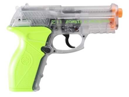 Crosman Z11 Zombie Eliminator Airsoft Pistol 6mm CO2 Full-Automatic Polymer Clear and Green