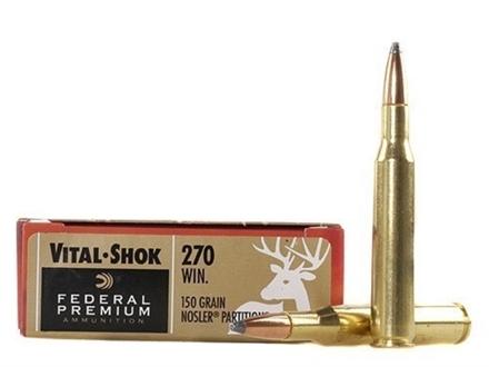 Federal Premium Vital-Shok Ammunition 270 Winchester 150 Grain Nosler Partition Box of 20