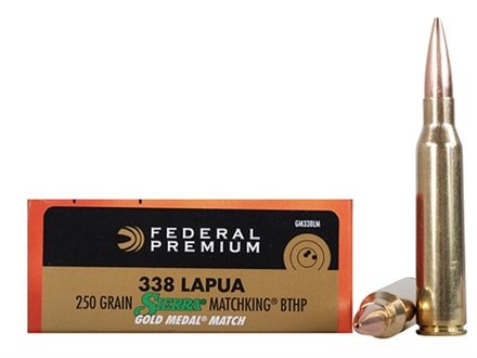 Federal Premium Gold Medal Ammunition 338 Lapua Magnum 250 Grain Sierra MatchKing Hollow Point Boat Tail Box of 20