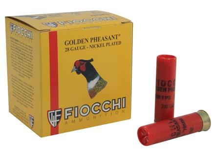 "Fiocchi Golden Pheasant Ammunition 28 Gauge 2-3/4"" 7/8 oz #6 Nickel Plated Shot Box of 25"
