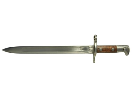 Military Surplus Bayonet with Scabbard Issued Swiss Model 1889 Stainless Steel with Wood Handle