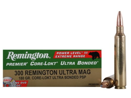 Remington Premier Power Level 3 Ammunition 300 Remington Ultra Magnum 180 Grain Core-Lokt Ultra Bonded Pointed Soft Point Box of 20