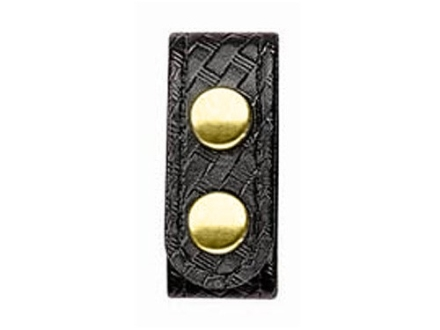 Bianchi 7906 Elite Belt Keeper Brass Snap Basketweave Synthetic Leather Black Package of 4